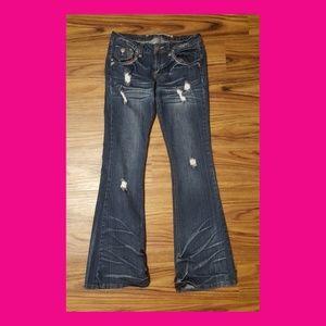 Distressed Flare Leg Jeans Jrs Size 9
